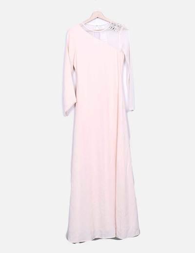 Vestido rosa pálido maxi com malha Suiteblanco