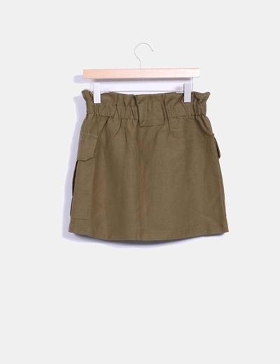 Falda safari khaki con bolsillos