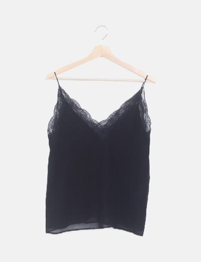 Camiseta negra lencera tirantes
