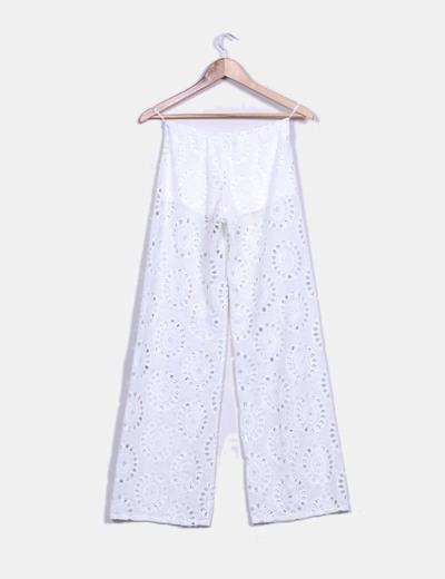 Pantalon recto blanco troquelado