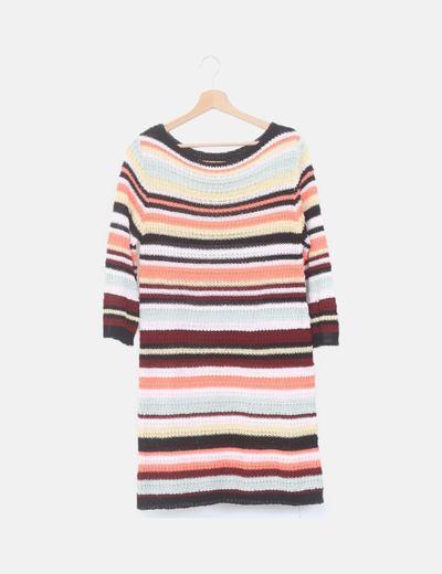 Vestido mini tricot rayas