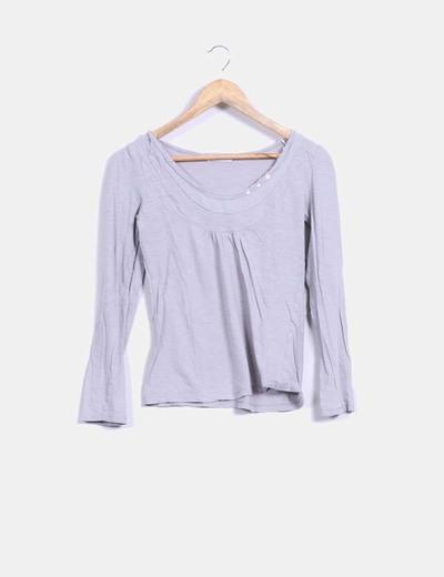 Camiseta basic gris manga larga Promod