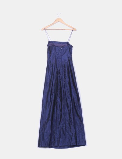 Vestido maxi raso azul marino tirantes