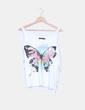 Top blanco print mariposa con flecos Shana