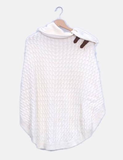 Poncho tricot beige