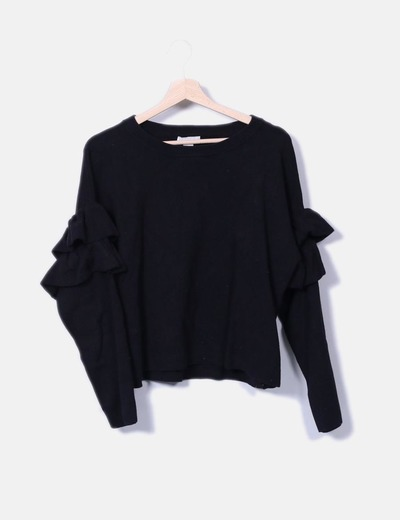 Jersey tricot negro mangas con volantes H&M