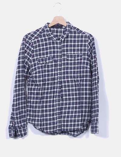 Camisa azul de cuadros Zara