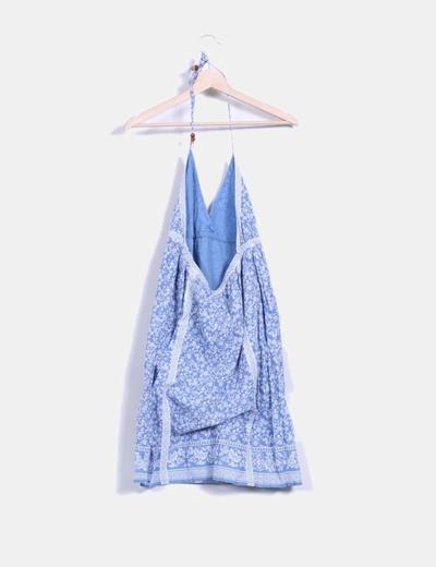 Vestido halter azul estampado