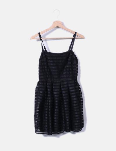 Robe noire texturé avec motif mesh H&M