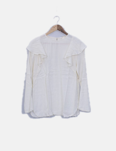 Blusa de gasa cruda manga larga