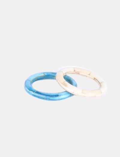 Conjunto de pulseras beige y turquesa NoName