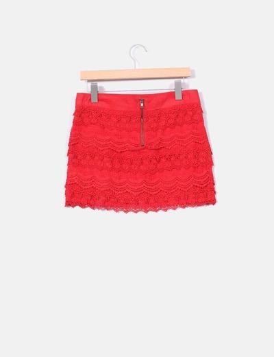 Mini falda roja crochet