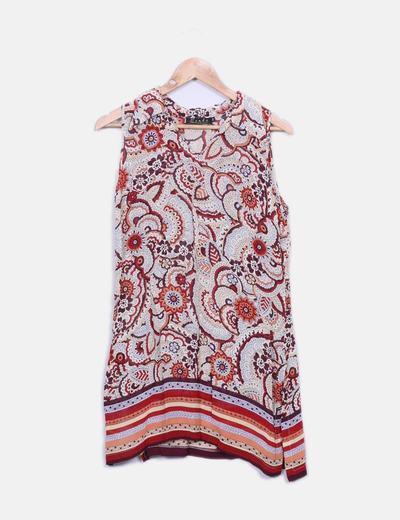 Camisa floral sin mangas con aberturas Leuka