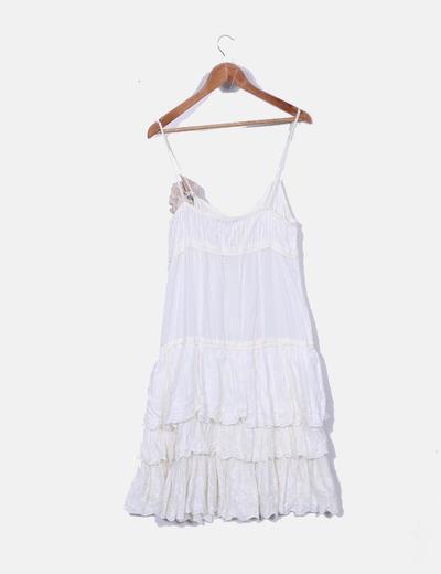 Vestido bordado blanco roto zara