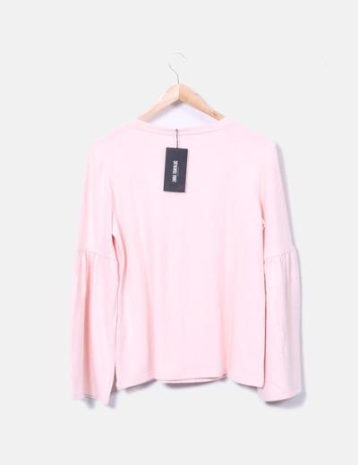 Jersey de punto rosa manga campana