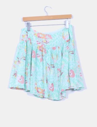 Mini falda gasa verde floral