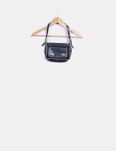 Bolso mini negro con costuras beige Mango