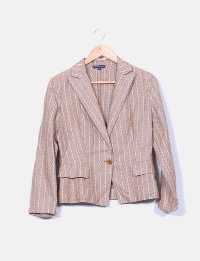 Conjunto vintabe falda midi camel con rayas y blazer Adolfo Dominguez