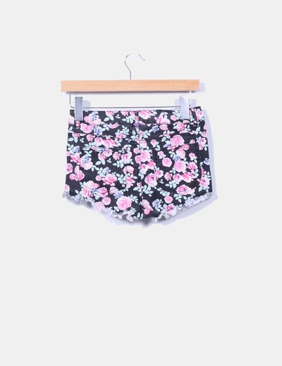 Shorts negro denim floral