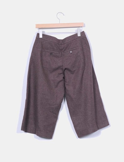 Pantalon culotte lana marron