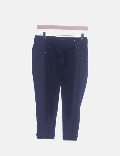 Pantalón tobillero azul marino botones