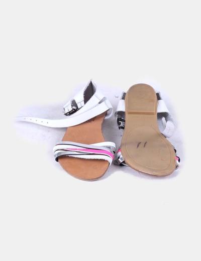 Sandalias blancas tiras fluor