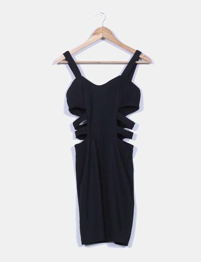 7e87ed072f NoName Vestido corto negro texturizado detalle aberturas laterales ...