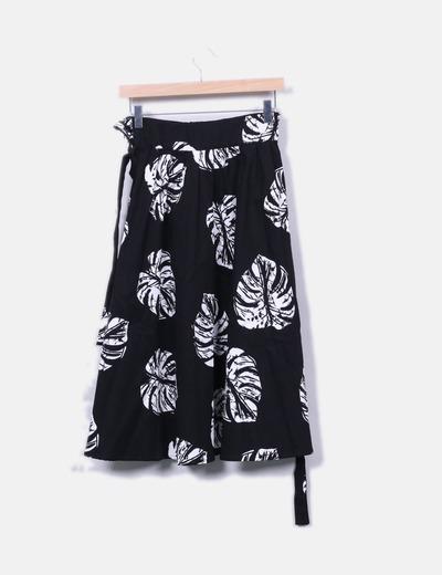 descuento Midi Hojas Micolet Negra Falda 72 Print Zara qzx56Xvwx