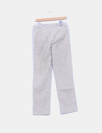 Pantalon pana beige detalle cremallera