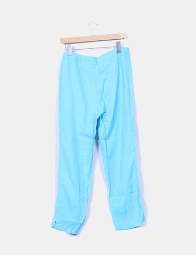 Pantalon turquesa de lino