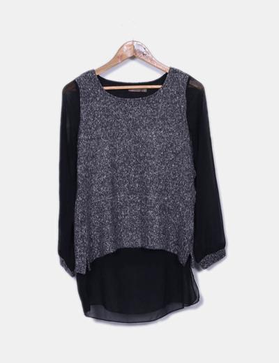T-shirt gris et noir Cortefiel