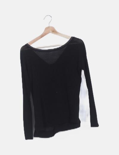 Jersey tricot negro detalles glitter