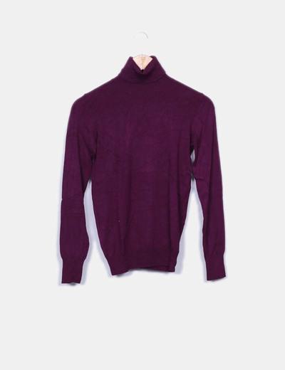 Suéter tricot morado cuelo vuelto Easy Wear