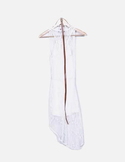 Vestido tail hem encaje blanco