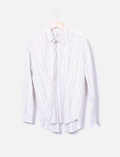 Camisa blanca rayas combinadas