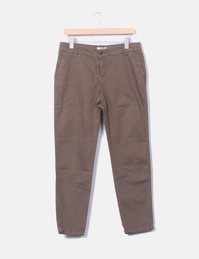 Pantalon vert kaki chinois Mango