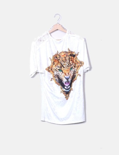 Camiseta blanca print tiger