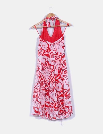 Vestido texturizado tirante al cuello estampado bicolor