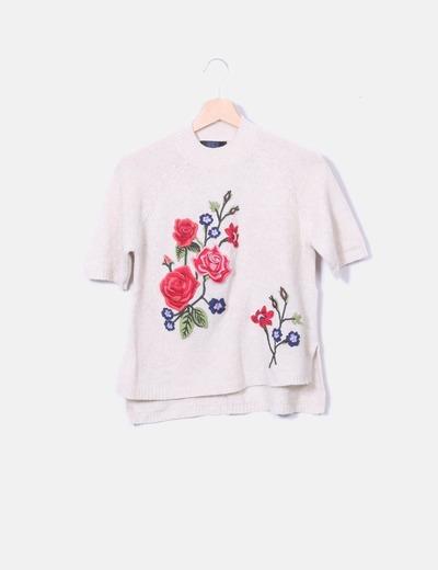 Jersey punto beige bordado floral