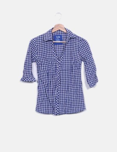 Camisa cuadros azul Bershka