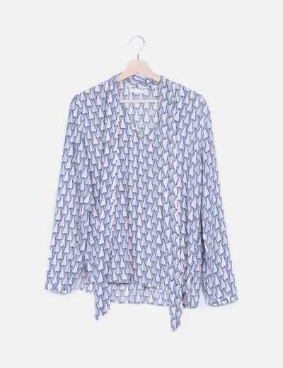 Blusa azul estampada lace up