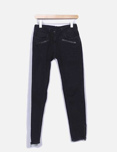 Pantalon denim pitillo negro Sandro