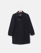 Abrigo negro texturizado mangas abullonadas Zara