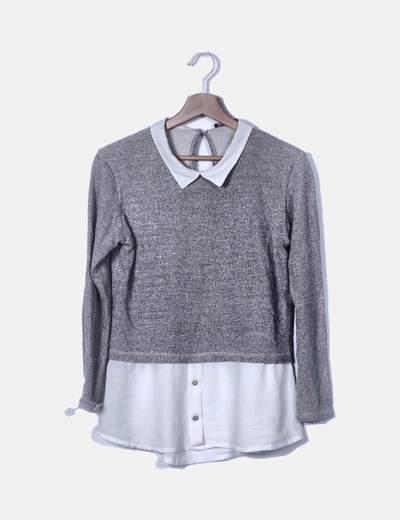 Blusa tricot combinada