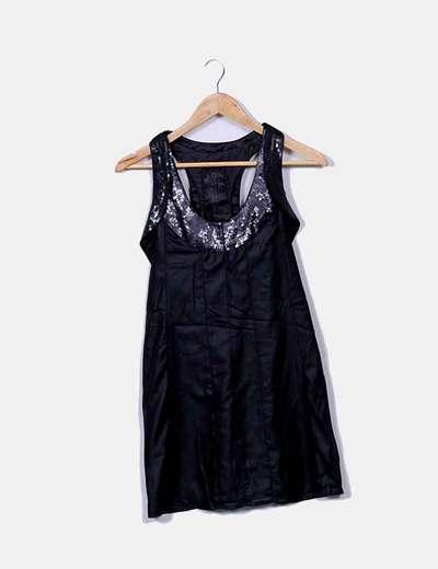 Vestido negro satinado con lentejuelas Pepe Jeans