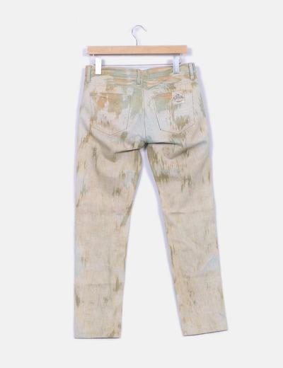 Jeans denim verde etnico