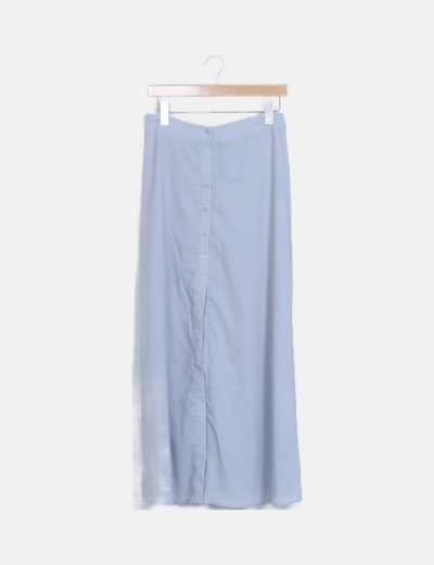 Falda maxi azul claro abotonada