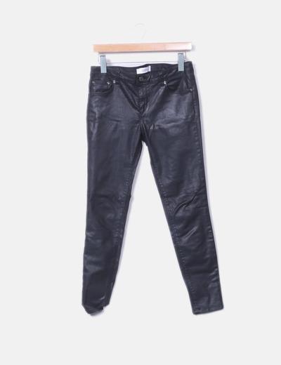 Jeans denim negro encerado