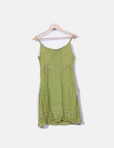 93942bf2d Vestido verde de gasa con tirantes