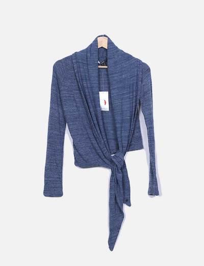 Nó de detalhe azul camisola de malha Suiteblanco